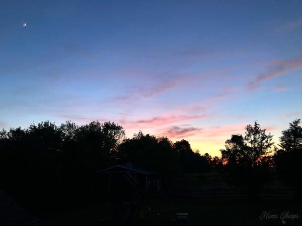 Sunset Over Farm Crescent Moon