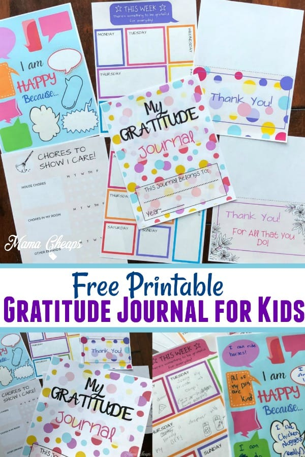 free printable Gratitude Journal for Kids