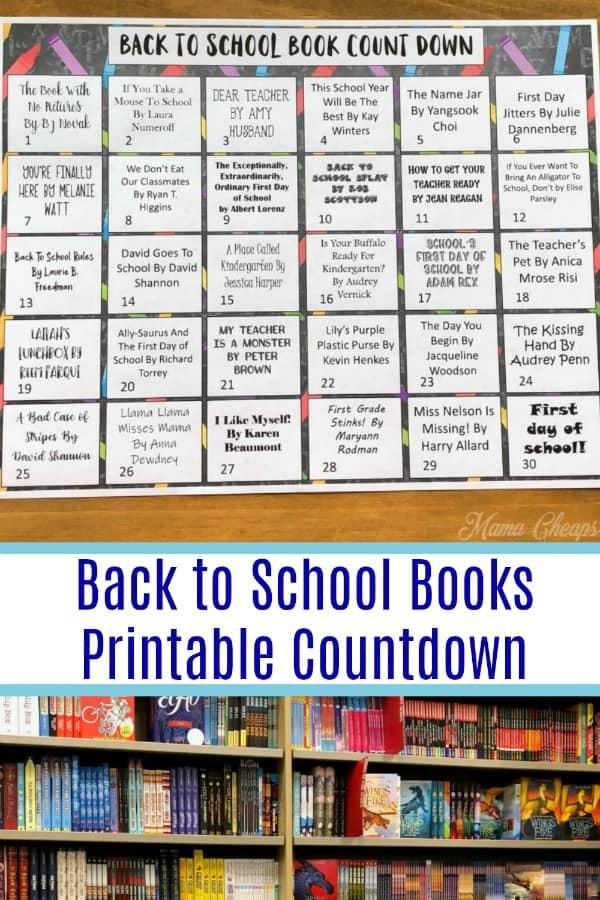 Back to School Books Printable Countdown