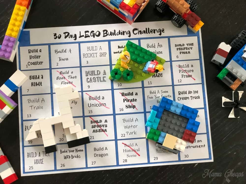 42 LEGO Crafts and Activities for Kids for Endless Fun featured by top US lifestyle blogger, Marcie in Mommyland: 30 Day LEGO Building Challenge Free Printable