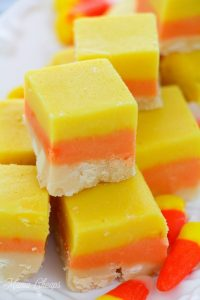 Cut Candy Corn Fudge