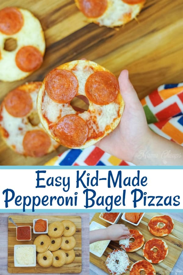 Easy Kid Made Pepperoni Bagel Pizzas