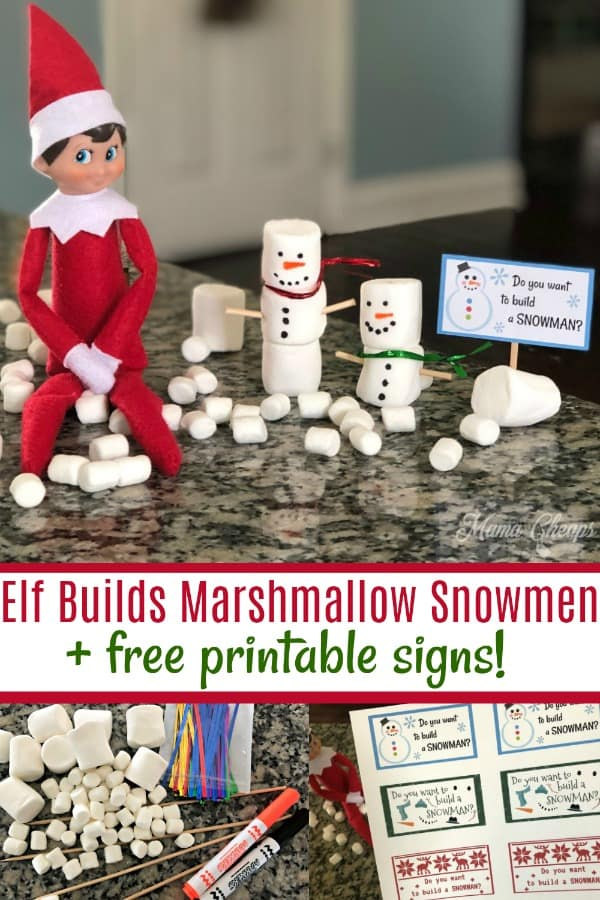 Elf Builds Marshmallow Snowmen with printables