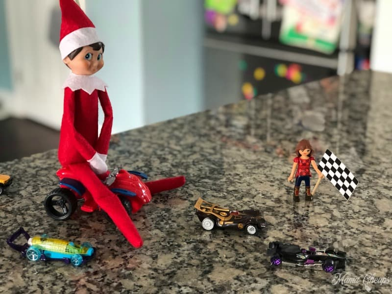 Elf Race Car Checkered Flag