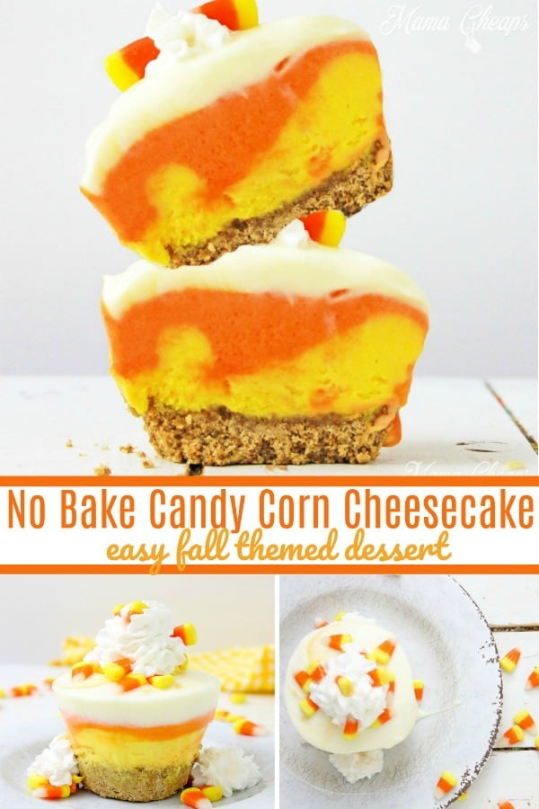 No Bake Candy Corn Cheesecake