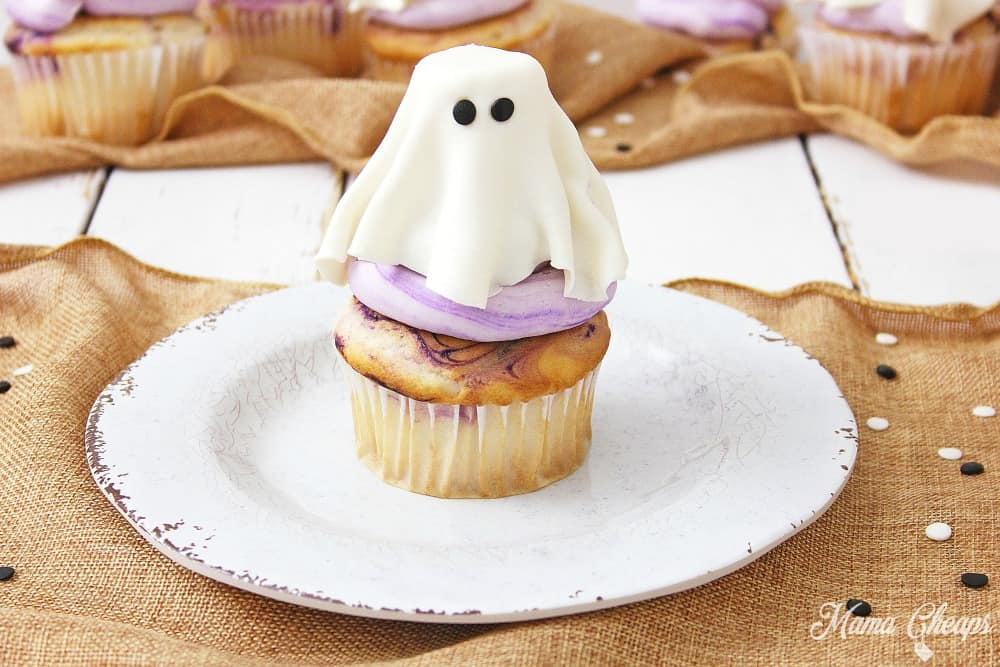 ghost cupcakes on plate