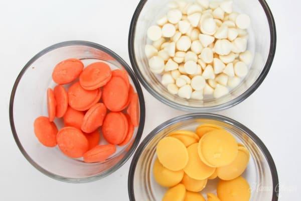 white orange yellow melting chocolate