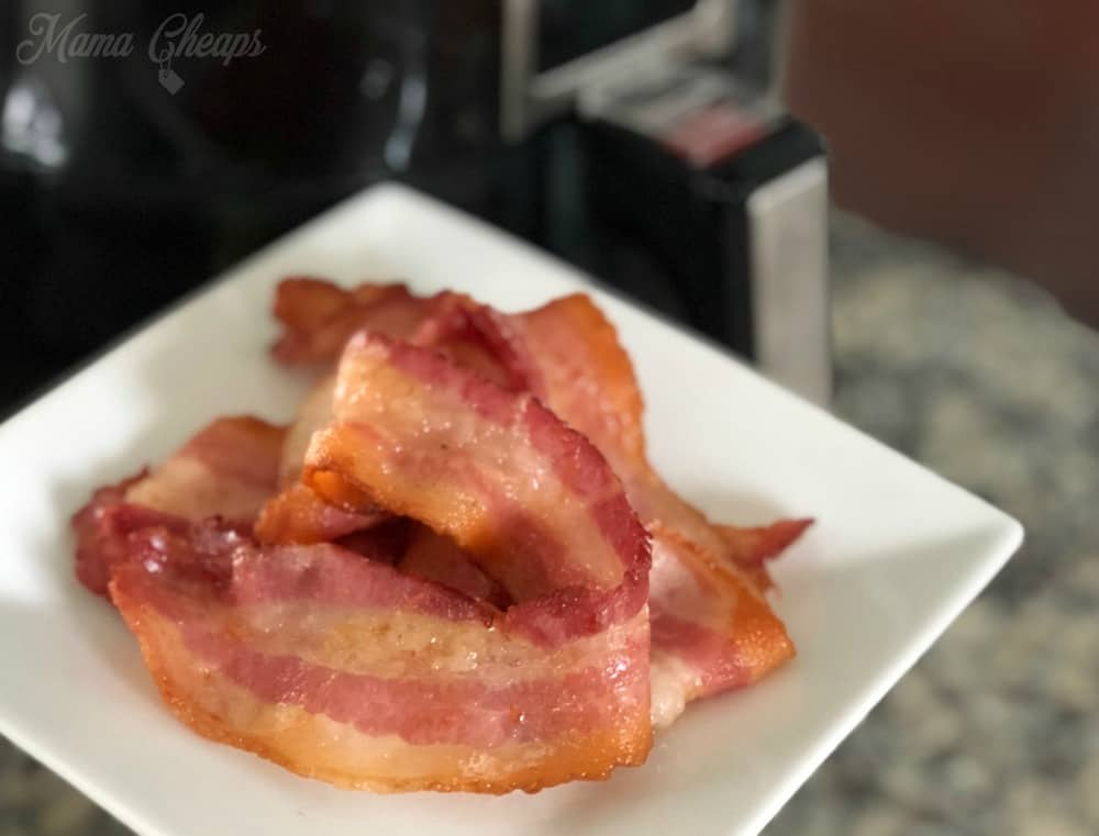 Cooked Bacon Air Fryer White Plate
