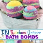 DIY Rainbow Unicorn Bath Bombs