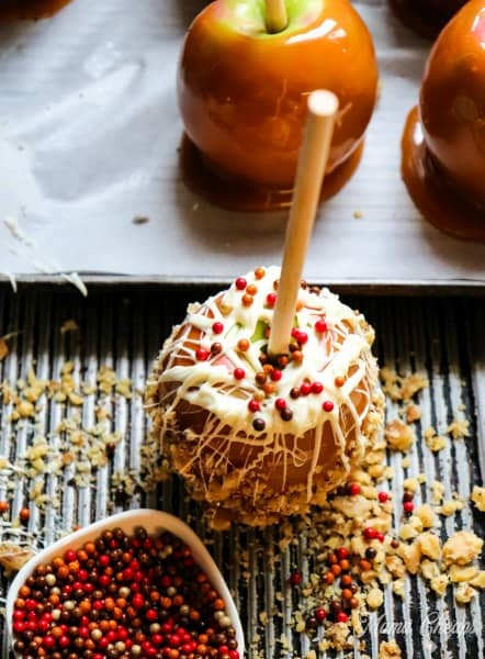 Caramel apples with candy
