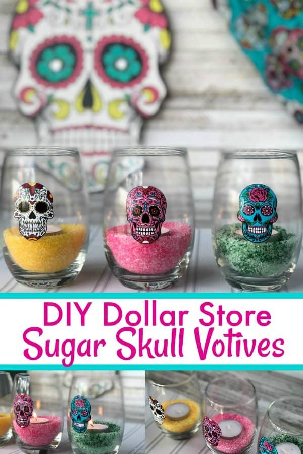 DIY Dollar Store Sugar Skull Votives PIN 1
