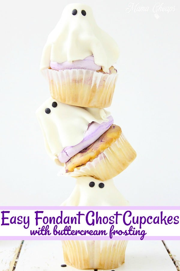 Easy Fondant Ghost Cupcakes long pin