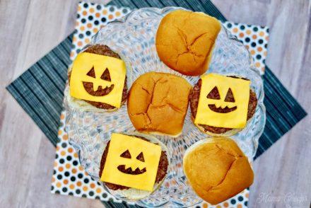 Halloween Jack O Lantern Burgers