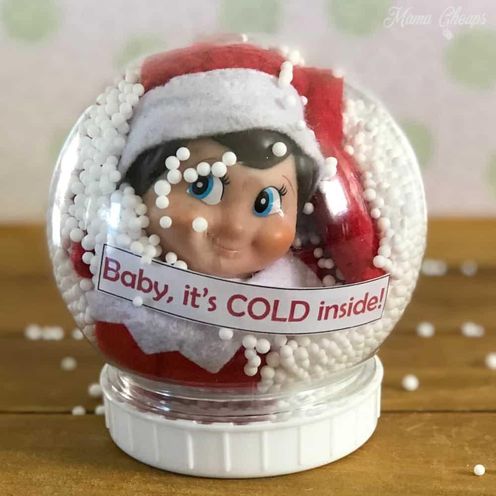 Elf in Snow Globe Scene SQUARE