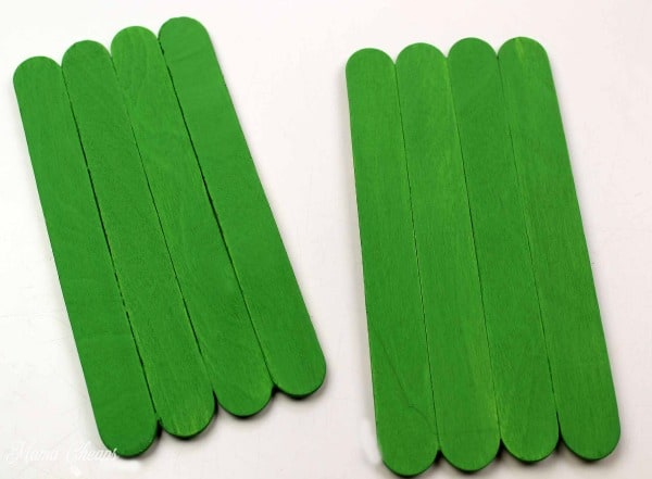 Green Painted Craft Sticks
