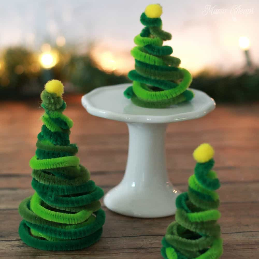 Pipe Cleaner Christmas Trees Square