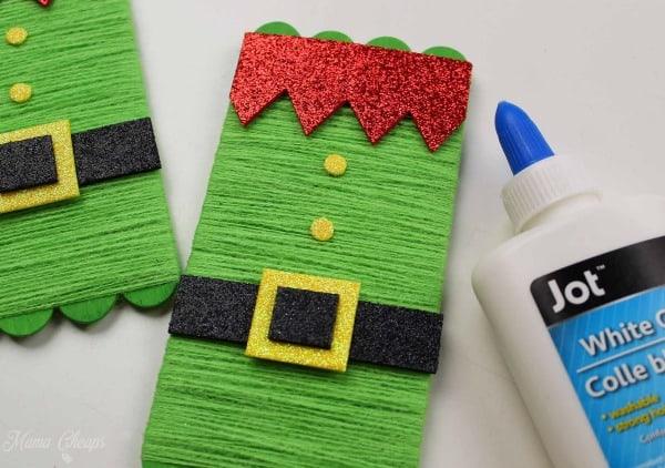 elf ornament craft glue red