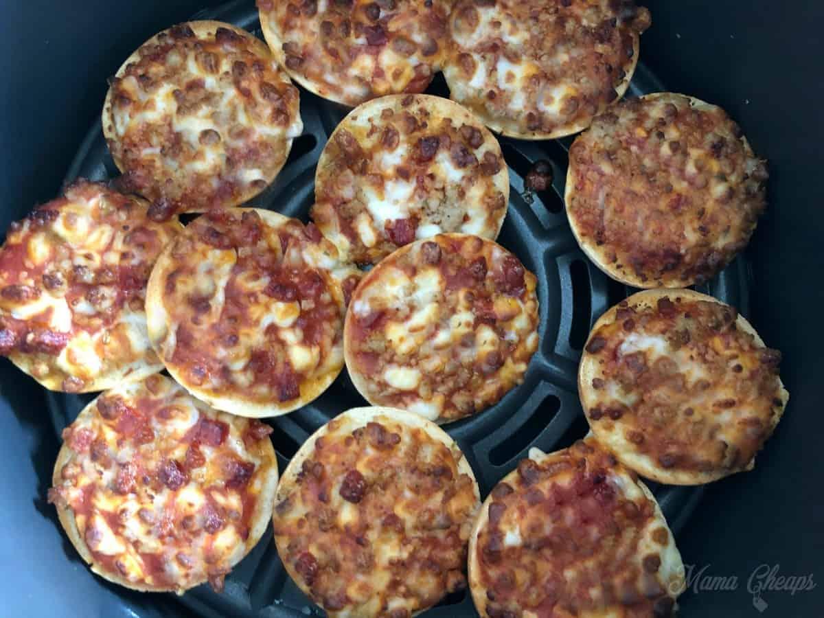 Air Fryer Bagel pizzas