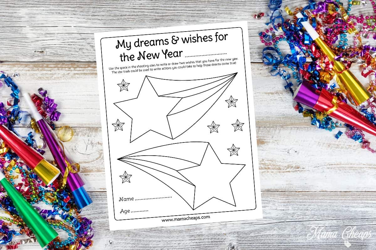 Dreams and Wishes New Year Kid Activity