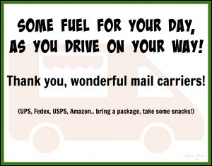 Mail Carrier Thank You Snack Bucket Signs