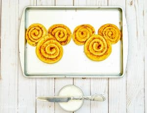Mickey Cinnamon Rolls on Baking tray
