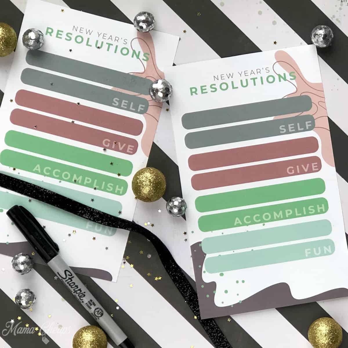 NYE Resolutions Printable