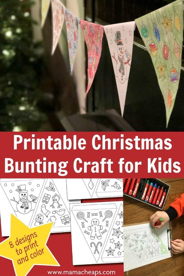 Printable Christmas Bunting Craft for Kids