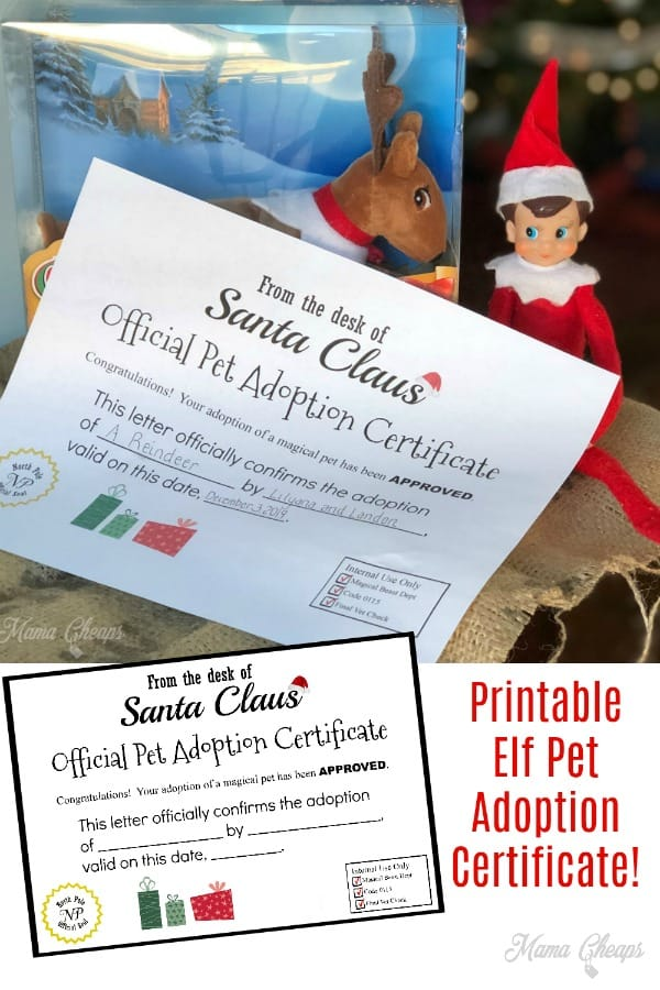 Printable Elf Pet Adoption Certificate PIN 2