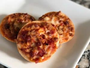 bagel bite pizzas white plate