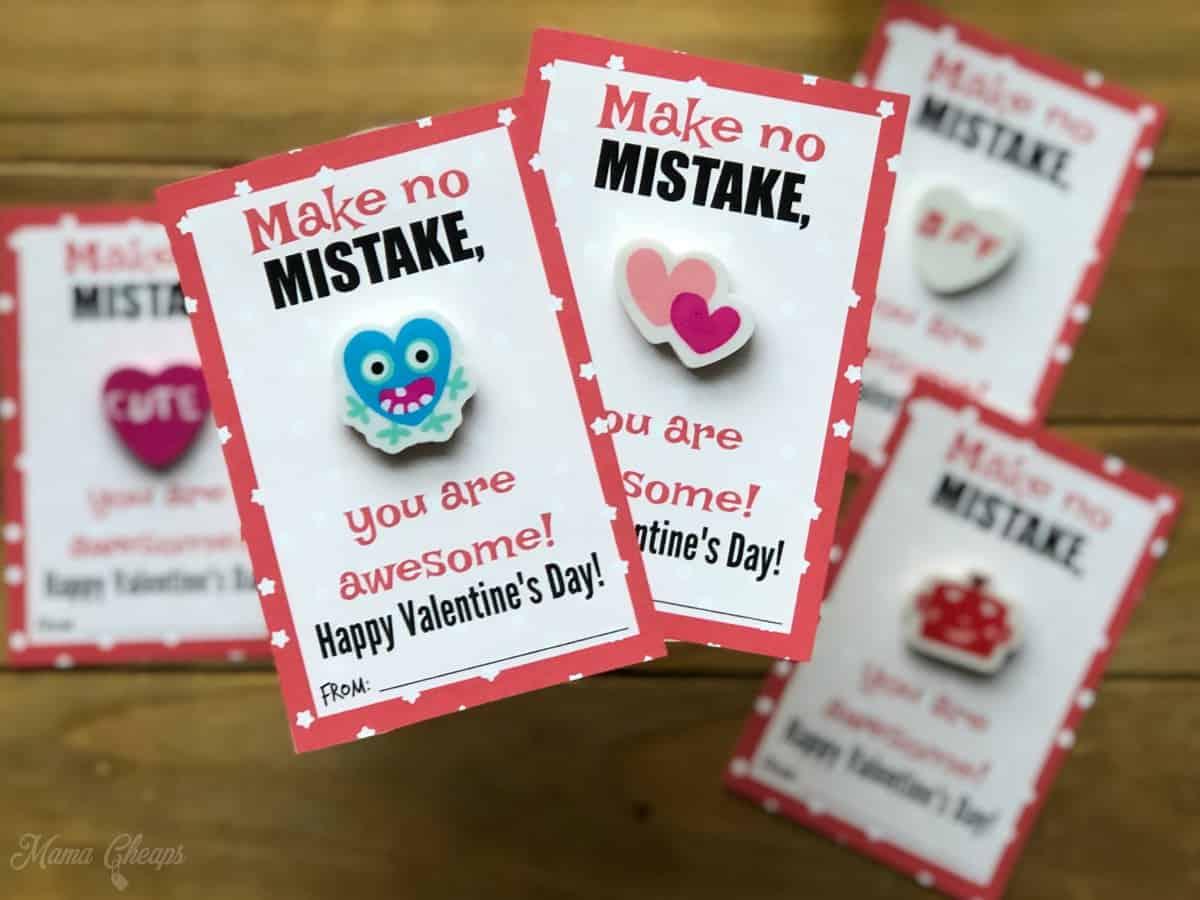 DIY Eraser Valentines Detail