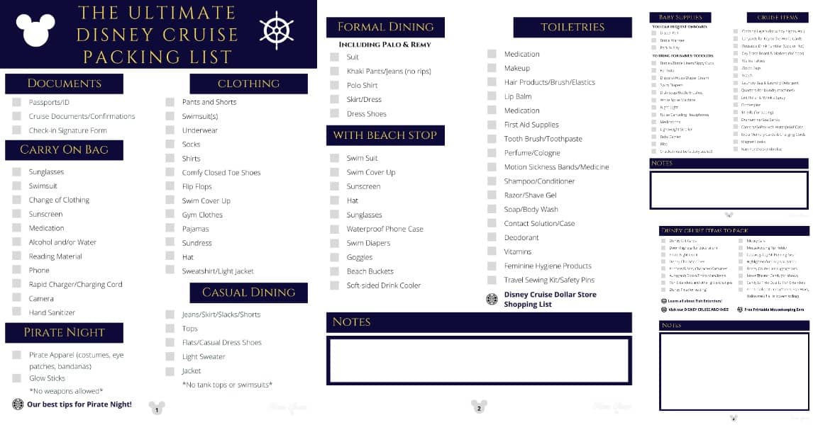 Disney cruise packing checklist