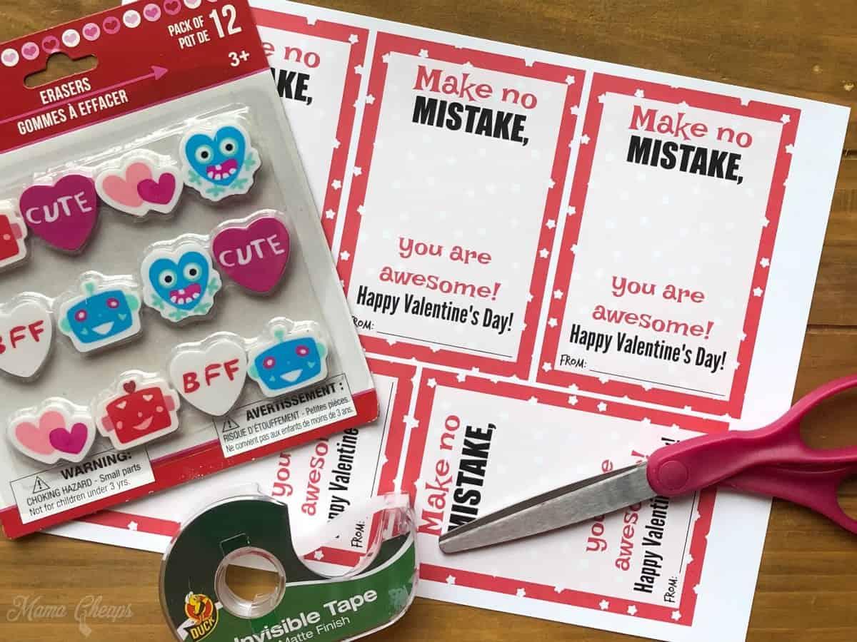 Eraser Valentine Supplies