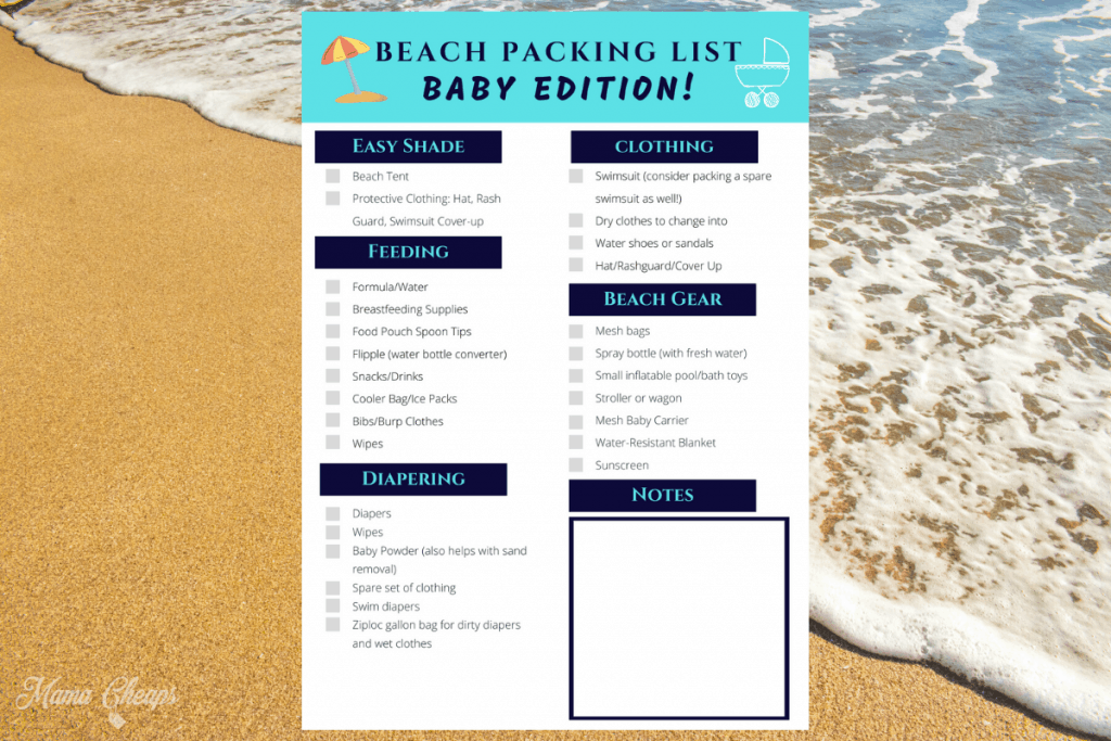 beach supplies for baby packing list
