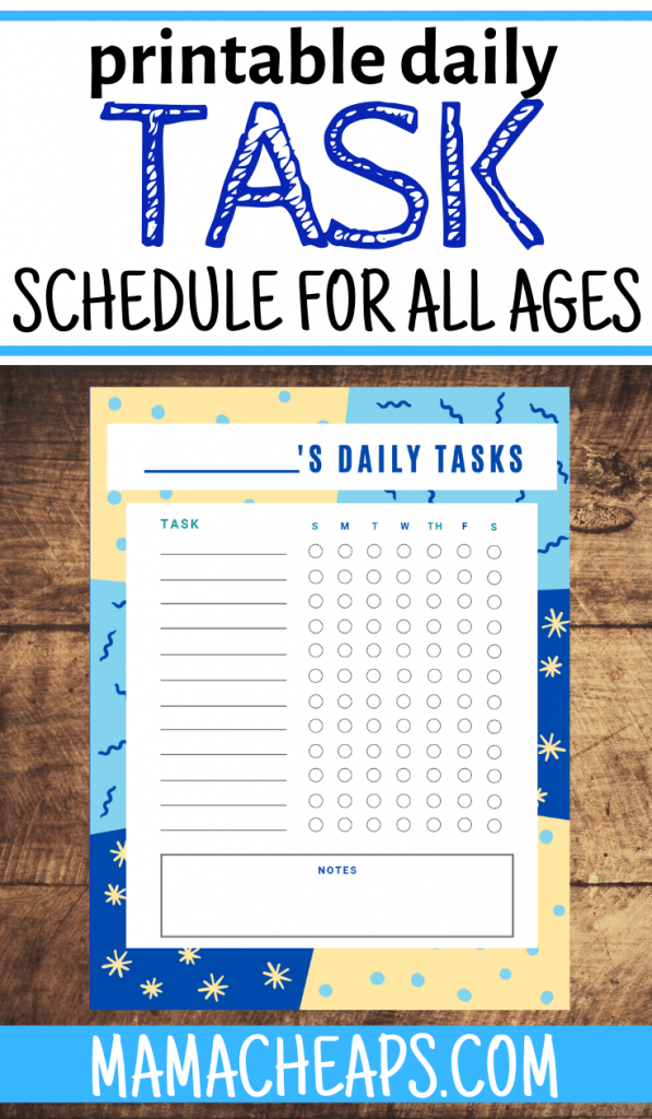Daily Task Schedule PIN