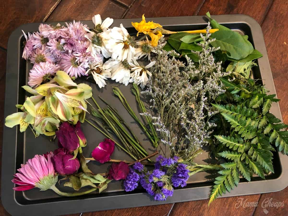 Old Flowers on Tray