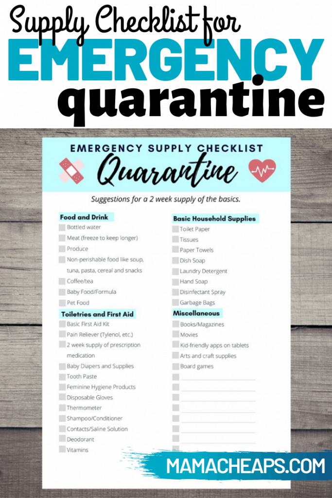 Quarantine Checklist PIN 1
