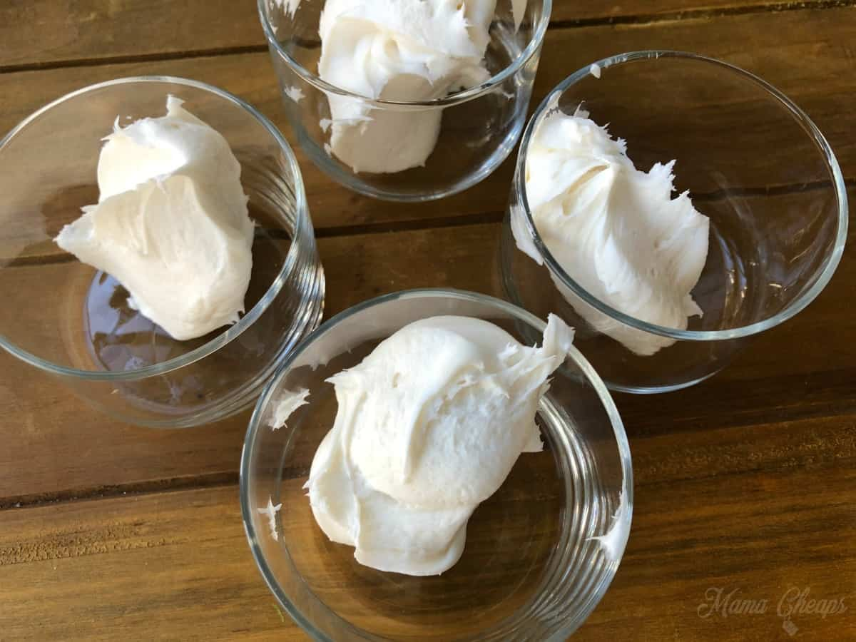 white icing in glass bowls
