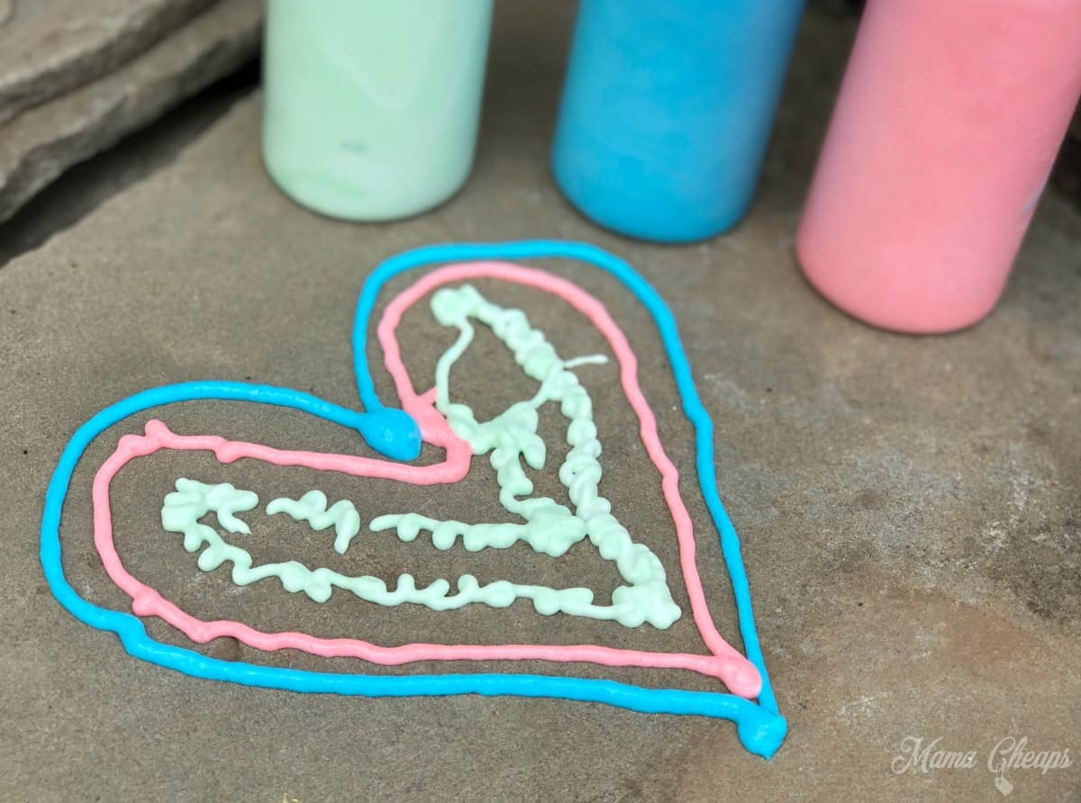 Hearts in puffy paint