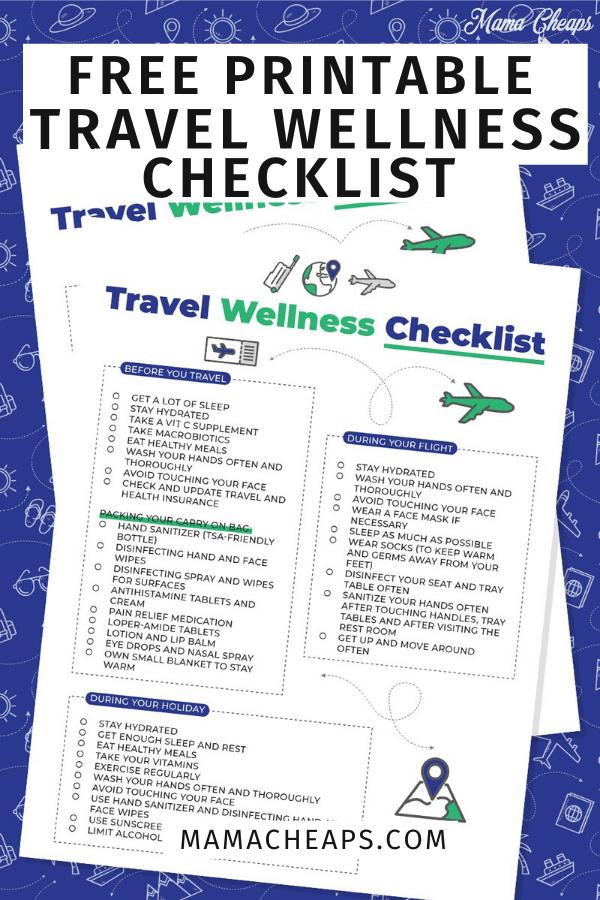 Travel Wellness Checklist PIN