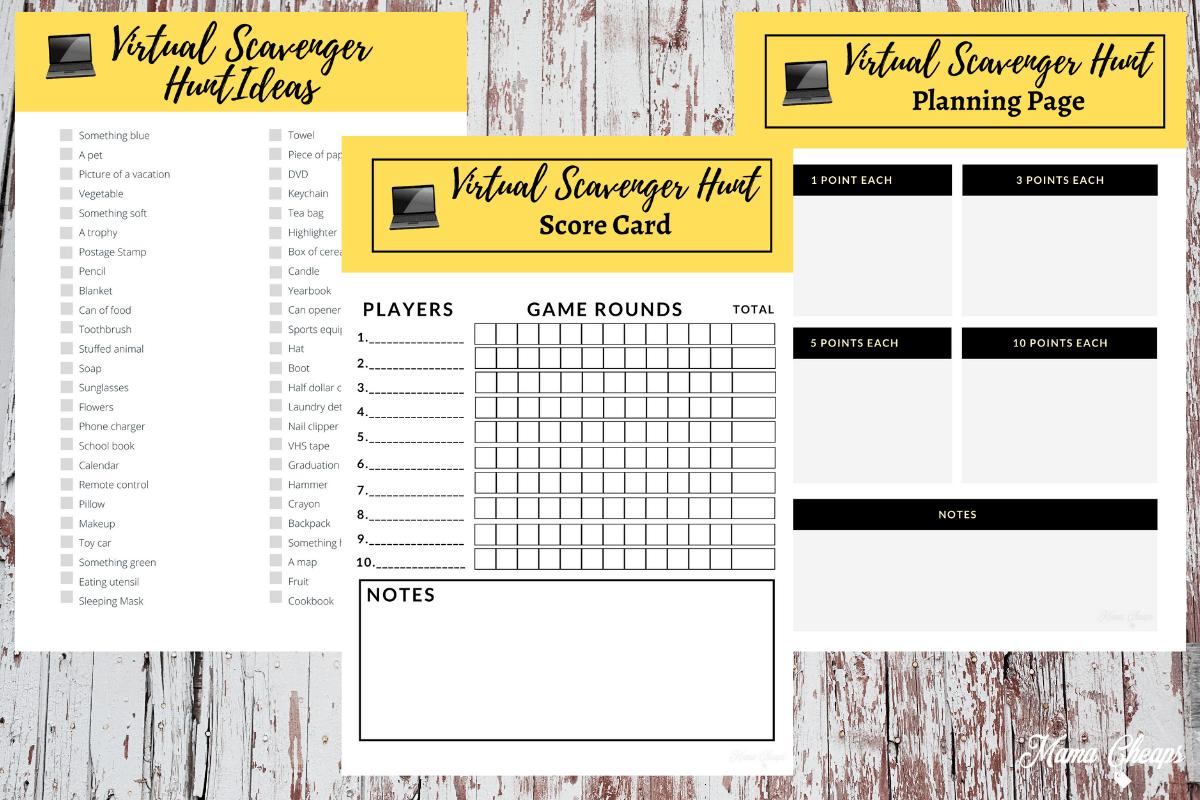 Virtual Scavenger Hunt Printable Pack