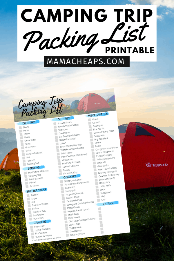 Camping Packing List PIN