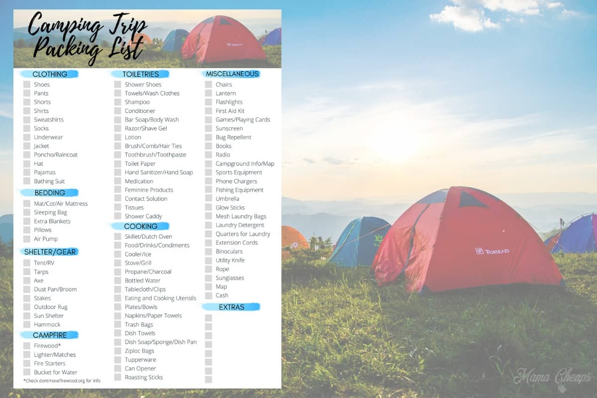 Camping Trip Planning List HERO