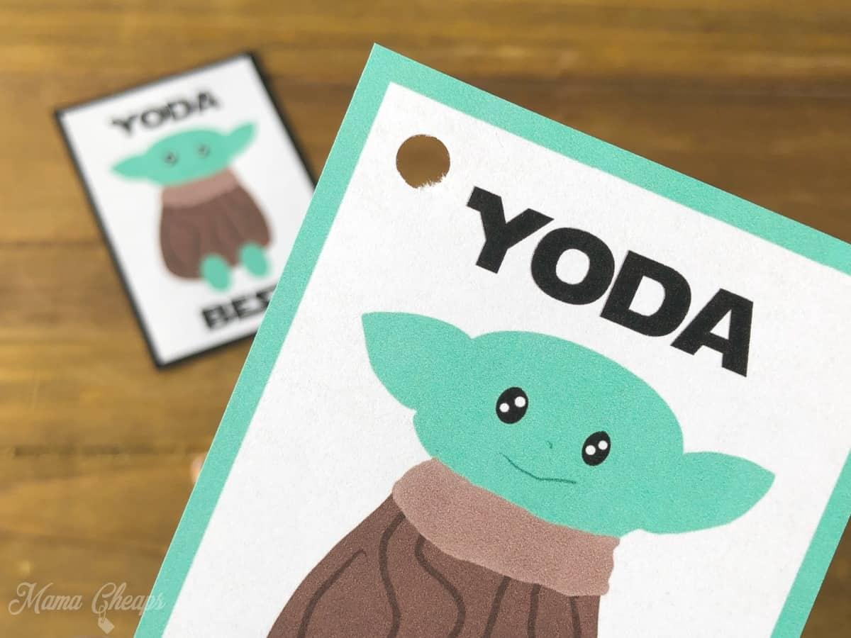 Hold punched baby yoda gift tag