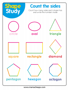 shapes worksheet for kids counting
