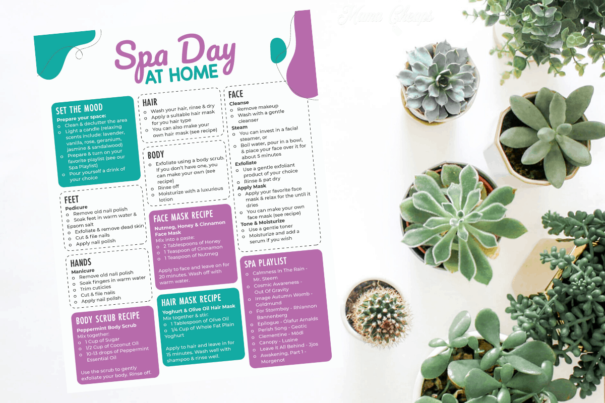 diy spa day planner