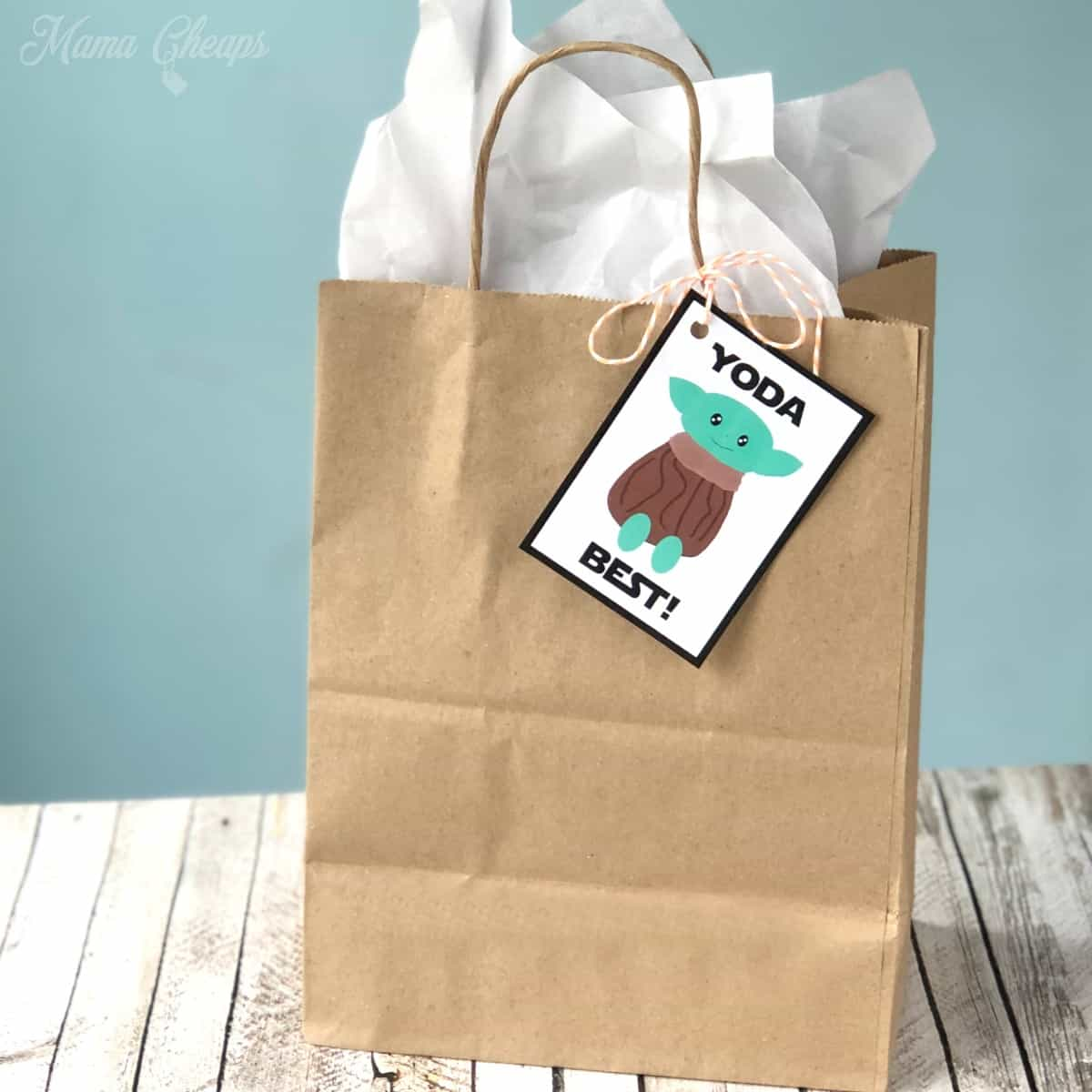 Baby Yoda Gift Tag on Brown Bag