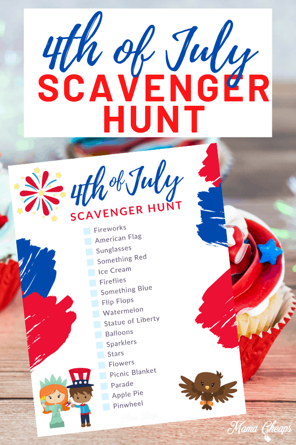 Printable 4th of July Scavenger Hunt Pin