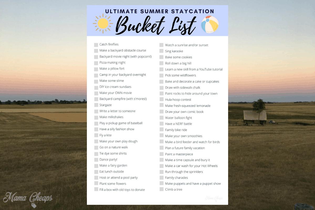 Summer Staycation Bucket List Checklist