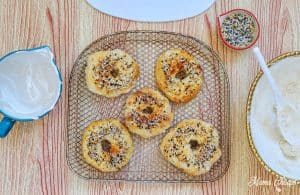 Air Fryer Everything Bagels on Tray