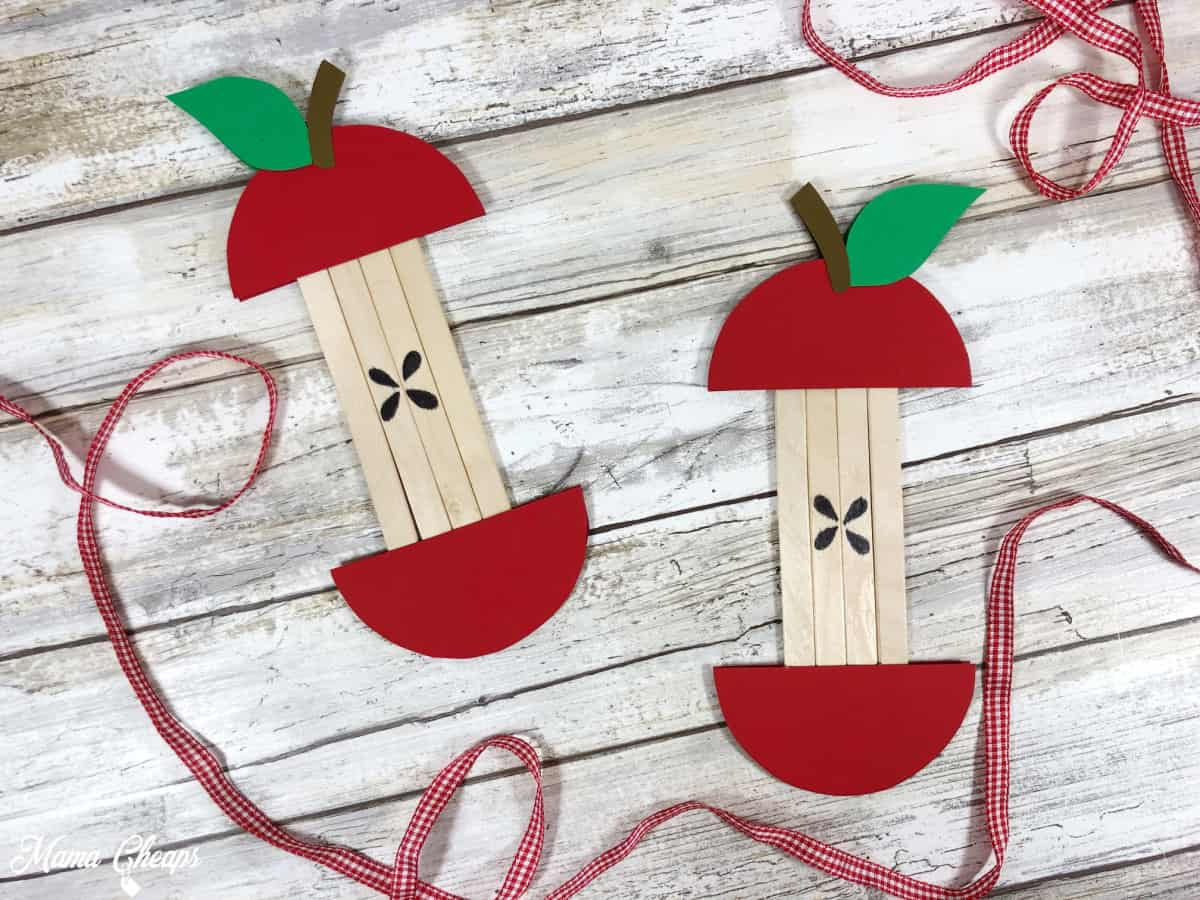 Apple popsicle stick craft